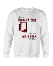 INDIANA GIRL LIVING IN ARIZONA WORLD Crewneck Sweatshirt thumbnail