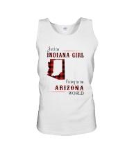 INDIANA GIRL LIVING IN ARIZONA WORLD Unisex Tank thumbnail