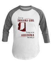 INDIANA GIRL LIVING IN ARIZONA WORLD Baseball Tee thumbnail