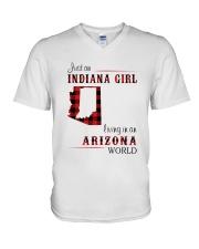 INDIANA GIRL LIVING IN ARIZONA WORLD V-Neck T-Shirt thumbnail