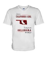 CALIFORNIA GIRL LIVING IN OKLAHOMA WORLD V-Neck T-Shirt thumbnail