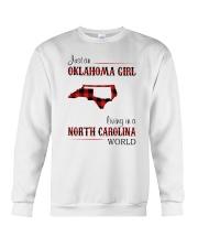 OKLAHOMA GIRL LIVING IN NORTH CAROLINA WORLD Crewneck Sweatshirt thumbnail