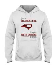OKLAHOMA GIRL LIVING IN NORTH CAROLINA WORLD Hooded Sweatshirt thumbnail