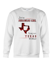 ARKANSAS GIRL LIVING IN TEXAS WORLD Crewneck Sweatshirt thumbnail
