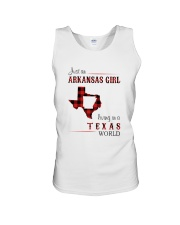 ARKANSAS GIRL LIVING IN TEXAS WORLD Unisex Tank thumbnail