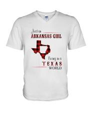 ARKANSAS GIRL LIVING IN TEXAS WORLD V-Neck T-Shirt thumbnail