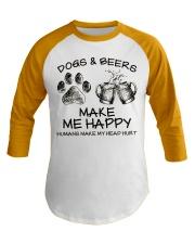 DOGS AND BEER MAKE ME HAPPY Baseball Tee thumbnail