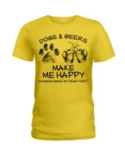DOGS AND BEER MAKE ME HAPPY Ladies T-Shirt thumbnail