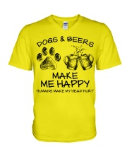 DOGS AND BEER MAKE ME HAPPY V-Neck T-Shirt thumbnail