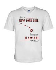 NEW YORK GIRL LIVING IN HAWAII WORLD V-Neck T-Shirt thumbnail