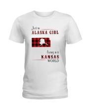 ALASKA GIRL LIVING IN KANSAS WORLD Ladies T-Shirt thumbnail