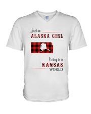 ALASKA GIRL LIVING IN KANSAS WORLD V-Neck T-Shirt thumbnail