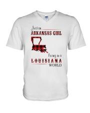ARKANSAS GIRL LIVING IN LOUISIANA WORLD V-Neck T-Shirt thumbnail