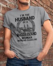 I'M THE HUSBAND OF A RHODE ISLAND WOMAN Classic T-Shirt apparel-classic-tshirt-lifestyle-26