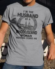 I'M THE HUSBAND OF A RHODE ISLAND WOMAN Classic T-Shirt apparel-classic-tshirt-lifestyle-28