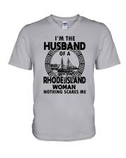 I'M THE HUSBAND OF A RHODE ISLAND WOMAN V-Neck T-Shirt thumbnail