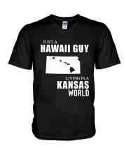 JUST A HAWAII GUY LIVING IN KANSAS WORLD V-Neck T-Shirt thumbnail