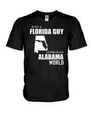 JUST A FLORIDA GUY LIVING IN ALABAMA WORLD  V-Neck T-Shirt thumbnail
