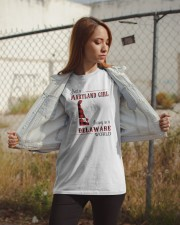 MARYLAND GIRL LIVING IN DELAWARE WORLD Classic T-Shirt apparel-classic-tshirt-lifestyle-07