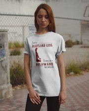 MARYLAND GIRL LIVING IN DELAWARE WORLD Classic T-Shirt apparel-classic-tshirt-lifestyle-18