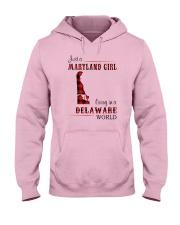 MARYLAND GIRL LIVING IN DELAWARE WORLD Hooded Sweatshirt thumbnail