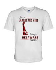 MARYLAND GIRL LIVING IN DELAWARE WORLD V-Neck T-Shirt thumbnail