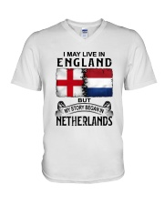 LIVE IN ENGLAND BEGAN IN NETHERLANDS V-Neck T-Shirt thumbnail