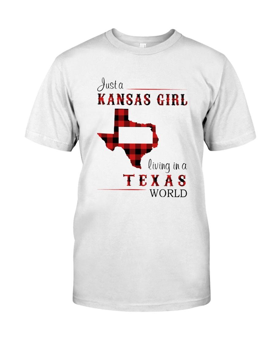 KANSAS GIRL LIVING IN TEXAS WORLD Classic T-Shirt
