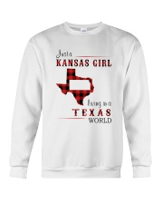 KANSAS GIRL LIVING IN TEXAS WORLD Crewneck Sweatshirt thumbnail