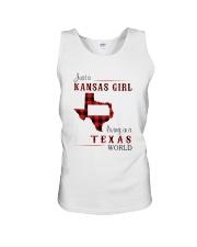 KANSAS GIRL LIVING IN TEXAS WORLD Unisex Tank thumbnail