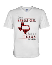KANSAS GIRL LIVING IN TEXAS WORLD V-Neck T-Shirt thumbnail