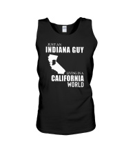 JUST AN INDIANA GUY LIVING IN CALIFORNIA WORLD Unisex Tank thumbnail