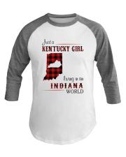 KENTUCKY GIRL LIVING IN INDIANA WORLD Baseball Tee thumbnail