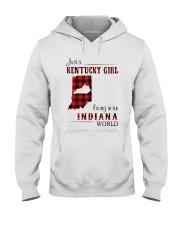 KENTUCKY GIRL LIVING IN INDIANA WORLD Hooded Sweatshirt thumbnail