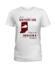 KENTUCKY GIRL LIVING IN INDIANA WORLD Ladies T-Shirt thumbnail