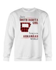 SOUTH DAKOTA GIRL LIVING IN ARKANSAS WORLD Crewneck Sweatshirt thumbnail