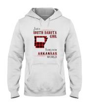 SOUTH DAKOTA GIRL LIVING IN ARKANSAS WORLD Hooded Sweatshirt thumbnail