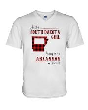 SOUTH DAKOTA GIRL LIVING IN ARKANSAS WORLD V-Neck T-Shirt thumbnail