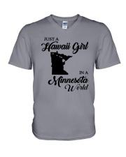 JUST A HAWAII GIRL IN A MINNESOTA WORLD V-Neck T-Shirt thumbnail