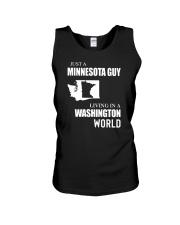 JUST A MINNESOTA GUY LIVING IN WASHINGTON WORLD Unisex Tank thumbnail