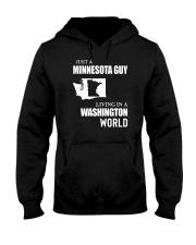 JUST A MINNESOTA GUY LIVING IN WASHINGTON WORLD Hooded Sweatshirt thumbnail