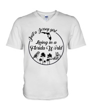 JUST A JERSEY GIRL LIVING IN A FLORIDA WORLD V-Neck T-Shirt thumbnail