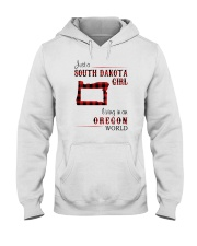 SOUTH DAKOTA GIRL LIVING IN OREGON WORLD Hooded Sweatshirt thumbnail