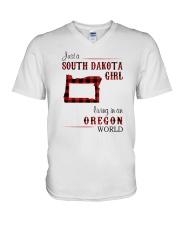 SOUTH DAKOTA GIRL LIVING IN OREGON WORLD V-Neck T-Shirt thumbnail