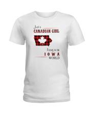 CANADIAN GIRL LIVING IN IOWA WORLD Ladies T-Shirt thumbnail