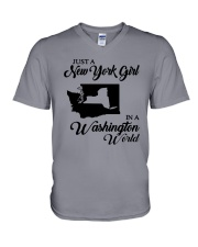 JUST A NEW YORK GIRL IN A WASHINGTON WORLD V-Neck T-Shirt thumbnail