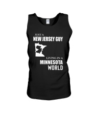 JUST A JERSEY GUY LIVING IN MINNESOTA WORLD Unisex Tank thumbnail