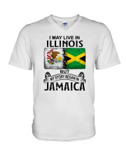 LIVE IN ILLINOIS BEGAN IN JAMAICA V-Neck T-Shirt thumbnail