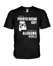 JUST A PUERTO RICAN GUY LIVING IN ALABAMA WORLD V-Neck T-Shirt thumbnail
