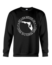NEW HAMPSHIRE GIRL LIVING IN FLORIDA WORLD Crewneck Sweatshirt thumbnail